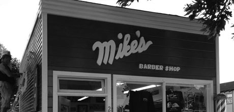 Mike's Barber Shop, Morro Bay, front of shop