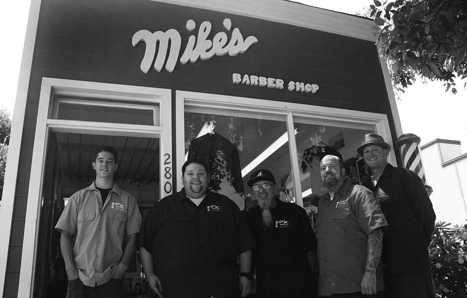 The barbers of Mike's Barber Shop in Morro Bay