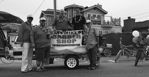 Mike's Barber Shop barbers in the Cayucos 4th of July Parade 2015