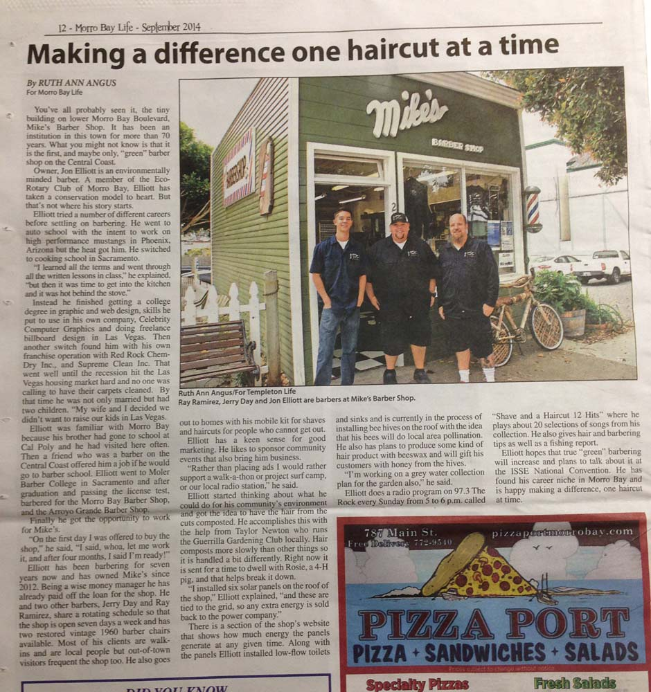 Morro Bay Life article September 2014 page 12, Mike's Barber Shop, Making a Difference One Haircut at a Time
