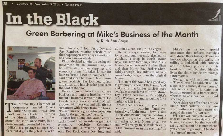 Bay News article November 2014 page 38, Green Barbering at Mike's Business of the Month
