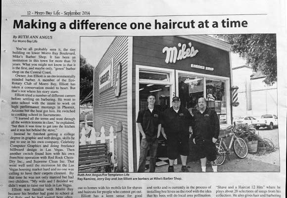 Morro Bay Life September news article about Mike's Barber Shop, Morro Bay