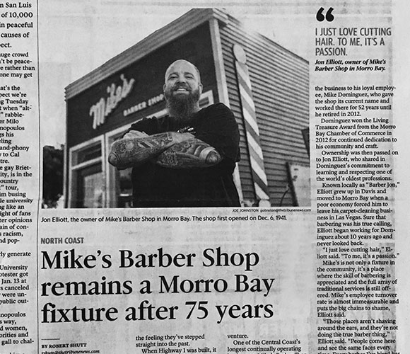 Mike's Barber Shop in the San Luis Obispo Tribune